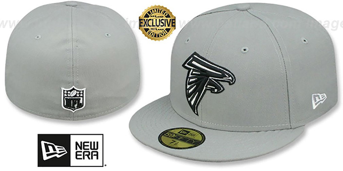 Falcons 'NFL TEAM-BASIC' Grey-Black-White Fitted Hat by New Era : pictured without stickers that these products are shipped with