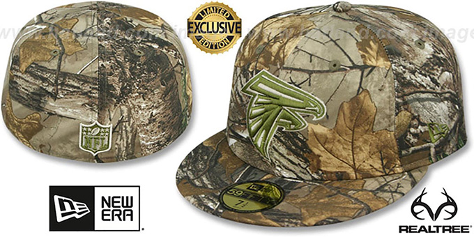 Falcons 'NFL TEAM-BASIC' Realtree Camo Fitted Hat by New Era : pictured without stickers that these products are shipped with
