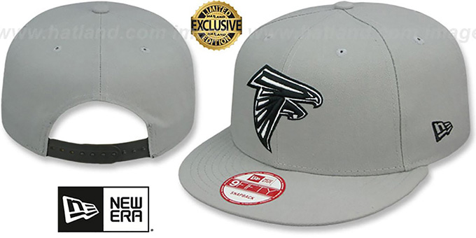 Falcons 'NFL TEAM-BASIC SNAPBACK' Grey-Black Hat by New Era : pictured without stickers that these products are shipped with