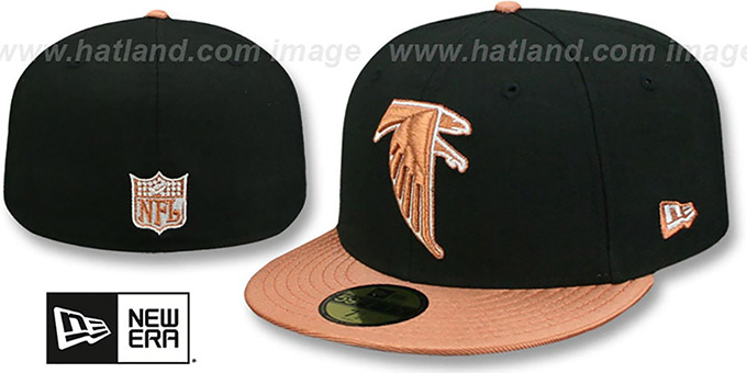 Falcons  NFL THROWBACK TEAM-BASIC  Black-Copper Fitted Hat by New Era afdd52333