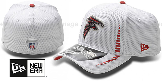 Falcons 'NFL TRAINING FLEX' White Hat by New Era : pictured without stickers that these products are shipped with