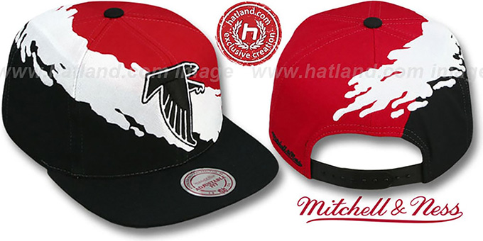 Falcons 'PAINTBRUSH SNAPBACK' Red-White-Black Hat by Mitchell & Ness : pictured without stickers that these products are shipped with