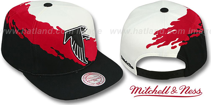 Falcons 'PAINTBRUSH SNAPBACK' White-Red-Black Hat by Mitchell & Ness : pictured without stickers that these products are shipped with