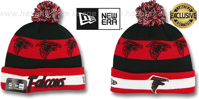 Falcons 'REPEATER SCRIPT' Knit Beanie Hat by New Era : pictured without stickers that these products are shipped with
