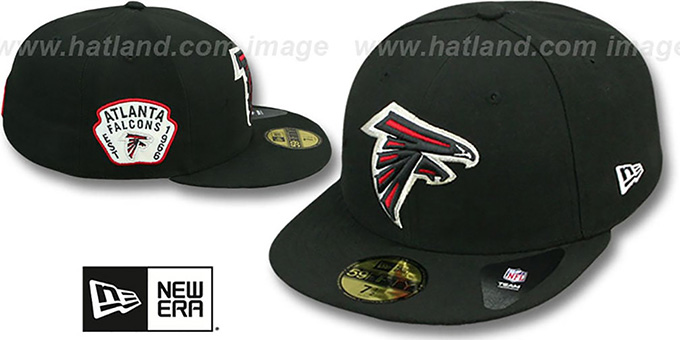 Falcons 'SIDE TEAM-PATCH' Black Fitted Hat by New Era : pictured without stickers that these products are shipped with