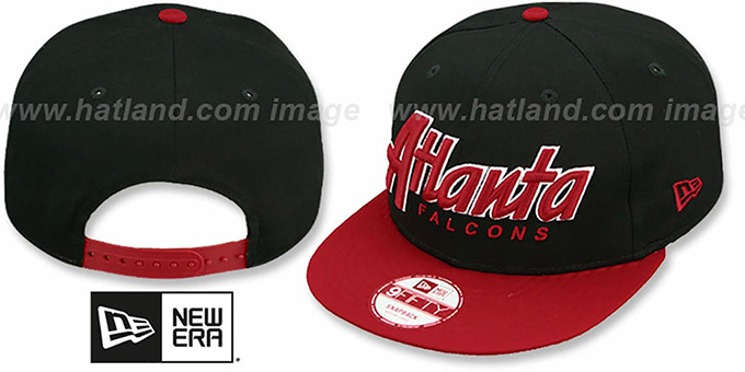 Falcons 'SNAP-IT-BACK SNAPBACK' Black-Red Hat by New Era : pictured without stickers that these products are shipped with