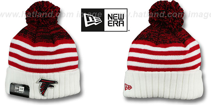 Falcons 'SNOWFALL STRIPE' Knit Beanie Hat by New Era : pictured without stickers that these products are shipped with