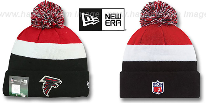 Falcons 'STADIUM' Knit Beanie Hat by New Era : pictured without stickers that these products are shipped with