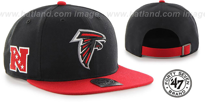Falcons 'SUPER-SHOT STRAPBACK' Black-Red Hat by Twins 47 Brand : pictured without stickers that these products are shipped with
