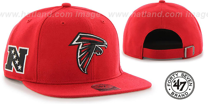Falcons 'SUPER-SHOT STRAPBACK' Red Hat by Twins 47 Brand : pictured without stickers that these products are shipped with