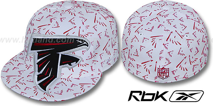 Falcons 'SUPERSIZE FLOCKING' White Fitted Hat by Reebok : pictured without stickers that these products are shipped with