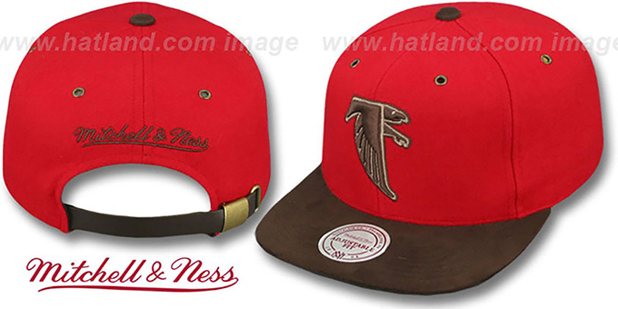 Falcons 'TC-BROWN SUEDE STRAPBACK' Hat Mitchell & Ness : pictured without stickers that these products are shipped with
