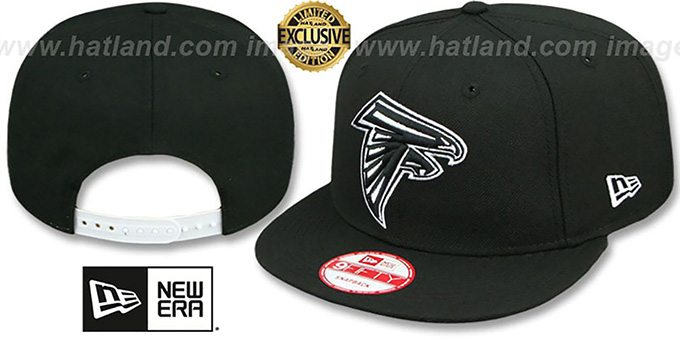 Falcons 'TEAM-BASIC SNAPBACK' Black-White Hat by New Era : pictured without stickers that these products are shipped with