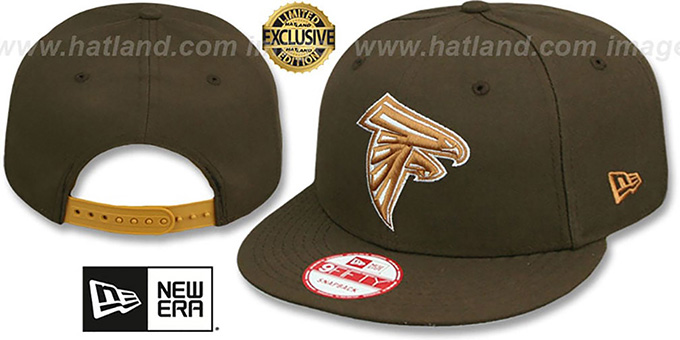 Falcons 'TEAM-BASIC SNAPBACK' Brown-Wheat Hat by New Era : pictured without stickers that these products are shipped with