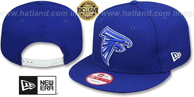 Falcons 'TEAM-BASIC SNAPBACK' Royal-White Hat by New Era : pictured without stickers that these products are shipped with