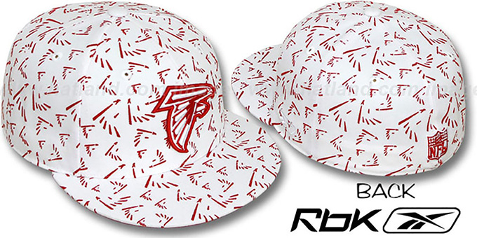 Falcons 'TEAM-FLOCKING ALL-OVER' White Fitted Hat by Reebok : pictured without stickers that these products are shipped with