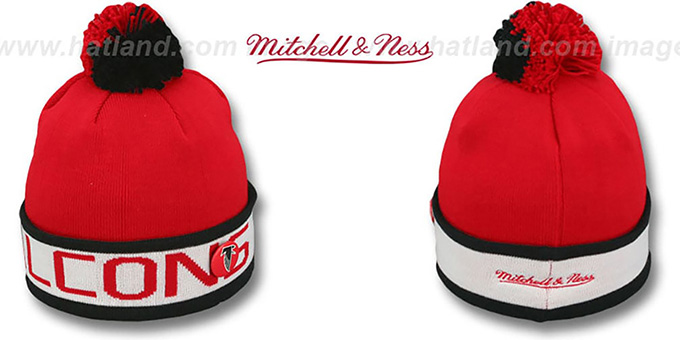 Falcons 'THE-BUTTON' Knit Beanie Hat by Michell & Ness : pictured without stickers that these products are shipped with