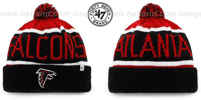 Falcons 'THE-CALGARY' Black-Red Knit Beanie Hat by Twins 47 Brand : pictured without stickers that these products are shipped with