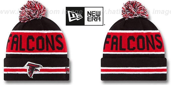 Falcons 'THE-COACH' Black Knit Beanie Hat by New Era : pictured without stickers that these products are shipped with