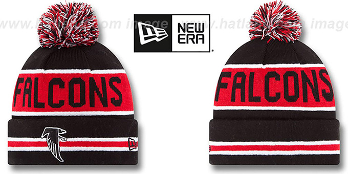 Falcons 'THE-COACH THROWBACK' Black Knit Beanie Hat by New Era : pictured without stickers that these products are shipped with