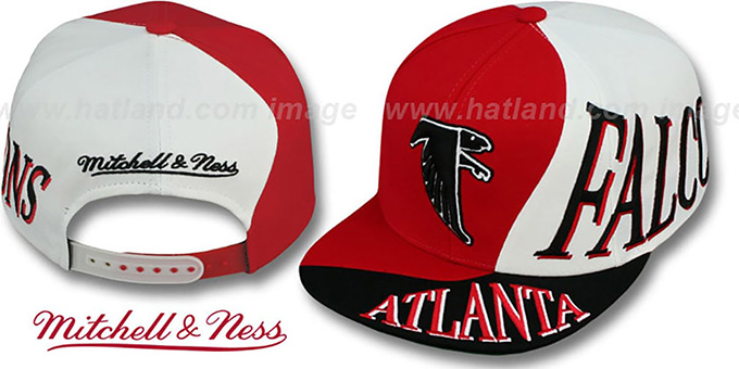 Falcons 'THE SKEW SNAPBACK' Hat by Mitchell and Ness : pictured without stickers that these products are shipped with