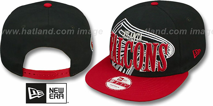 Falcons 'THROUGH SNAPBACK' Black-Red Hat by New Era : pictured without stickers that these products are shipped with