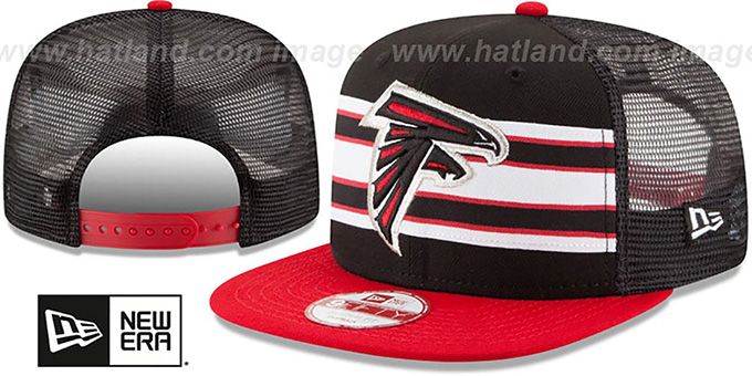 Falcons 'THROWBACK-STRIPE SNAPBACK' Black-Red Hat by New Era : pictured without stickers that these products are shipped with