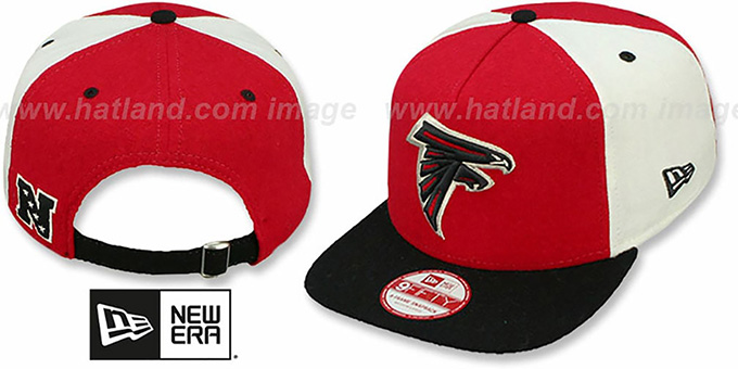 Falcons 'TRIPLE MELTON STRAPBACK' Red-White-Black Hat by New Era : pictured without stickers that these products are shipped with