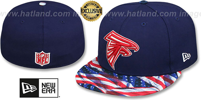 Falcons 'USA WAVING-FLAG' Navy Fitted Hat by New Era : pictured without stickers that these products are shipped with