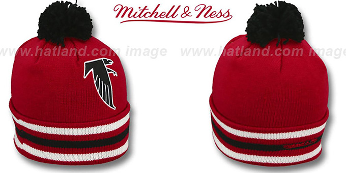 Falcons 'XL-LOGO BEANIE' Red by Mitchell and Ness : pictured without stickers that these products are shipped with
