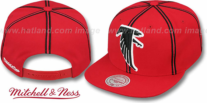 Falcons 'XL-LOGO SOUTACHE SNAPBACK' Red Adjustable Hat by Mitchell & Ness : pictured without stickers that these products are shipped with