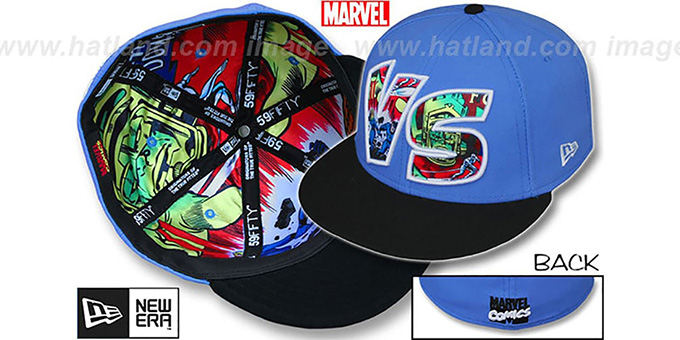 Fantastic Four 'VERSUS' Galactus Sky-Black Fitted Hat by New Era : pictured without stickers that these products are shipped with
