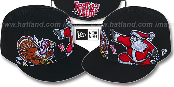 Festive Feud 'TURKEY vs SANTA' Black Fitted Hat by New Era : pictured without stickers that these products are shipped with