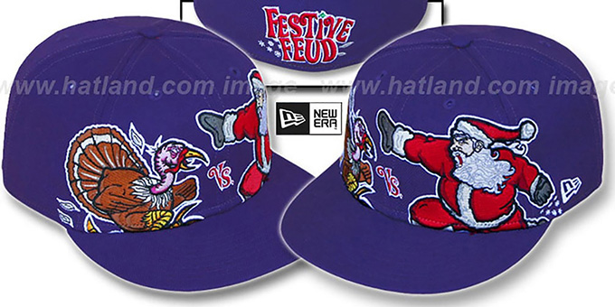 Festive Feud 'TURKEY vs SANTA' Purple Fitted Hat by New Era : pictured without stickers that these products are shipped with