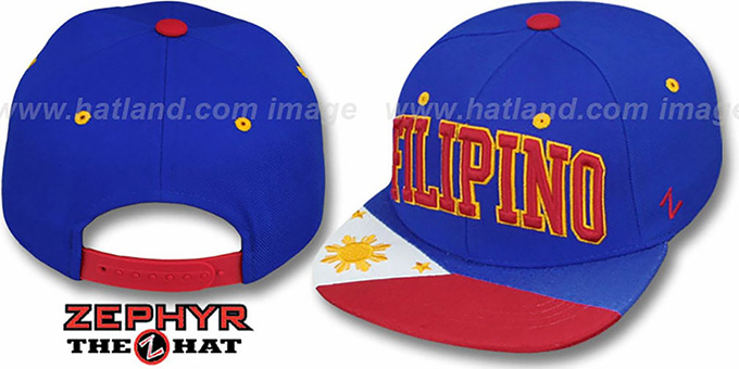 Filipino 'SUPERSTAR SNAPBACK' Royal Hat by Zephyr : pictured without stickers that these products are shipped with