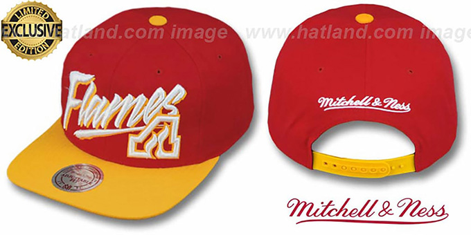 Flames '2T VICE SNAPBACK' Red-Gold Adjustable Hat by Mitchell & Ness : pictured without stickers that these products are shipped with