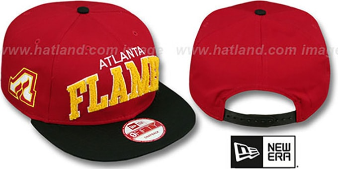 Flames 'CHENILLE-ARCH SNAPBACK' Red-Black Hat by New Era : pictured without stickers that these products are shipped with