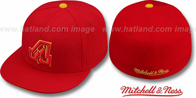Flames 'CLASSIC THROWBACK' Red Fitted Hat by Mitchell & Ness : pictured without stickers that these products are shipped with