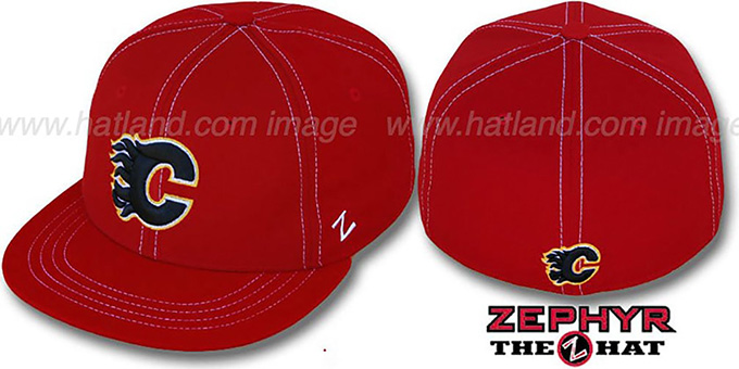 Flames 'CONTRAST THREAT' Red Fitted Hat by Zephyr : pictured without stickers that these products are shipped with