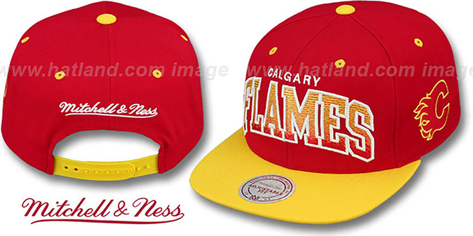 Flames 'GRADIANT-ARCH SNAPBACK' Red-Gold Hat by Mitchell and Ness : pictured without stickers that these products are shipped with