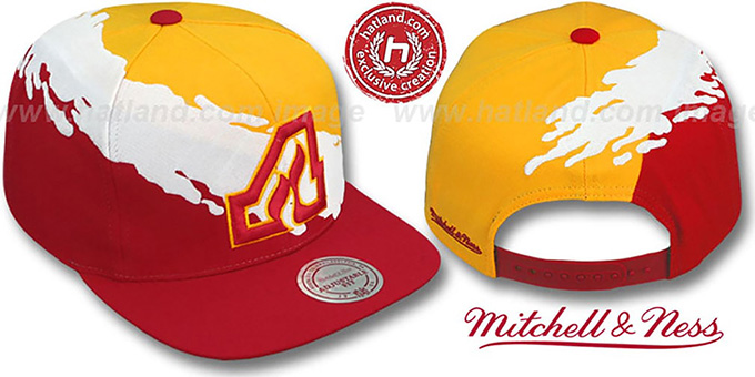 Flames 'PAINTBRUSH SNAPBACK' Gold-White-Red Hat by Mitchell & Ness : pictured without stickers that these products are shipped with