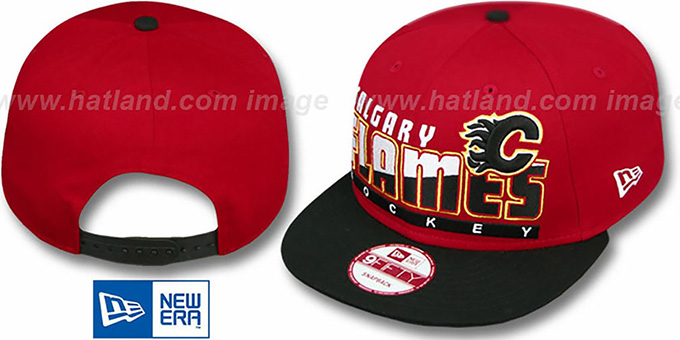 Flames 'SLICE-N-DICE SNAPBACK' Red-Black Hat by New Era : pictured without stickers that these products are shipped with