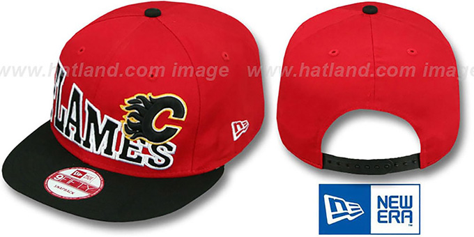 Flames 'STOKED SNAPBACK' Red-Black Hat by New Era : pictured without stickers that these products are shipped with