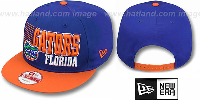 Florida '2T BORDERLINE SNAPBACK' Royal-Orange Hat by New Era : pictured without stickers that these products are shipped with