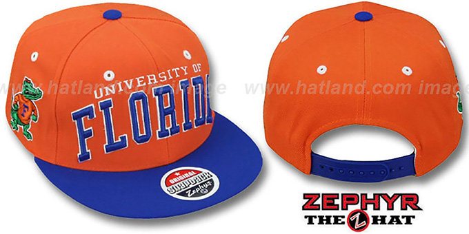 Florida '2T SUPER-ARCH SNAPBACK' Orange-Royal Hat by Zephyr : pictured without stickers that these products are shipped with