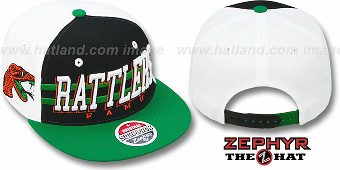 Florida A & M '2T SUPERSONIC SNAPBACK' Black-Green Hat by Zephyr : pictured without stickers that these products are shipped with