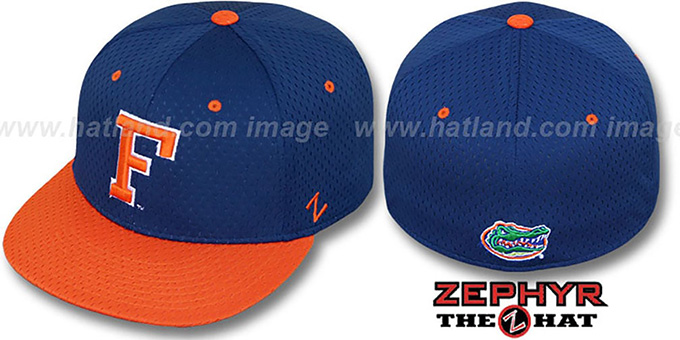 Florida 'DOUBLE PLAY MESH' Royal-Orange Fitted Hat by Zephyr : pictured without stickers that these products are shipped with