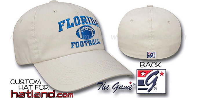 Florida 'FOOTBALL' Fitted Hat by The Game - stone : pictured without stickers that these products are shipped with
