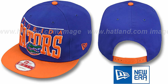 Florida 'LE-ARCH SNAPBACK' Royal-Orange Hat by New Era : pictured without stickers that these products are shipped with