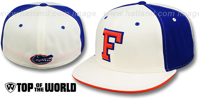 Florida 'PINWHEEL' White-Royal Fitted Hat by Top Of The World : pictured without stickers that these products are shipped with
